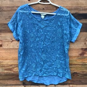 Sundance | Blue Silk Embroidered Floral Top Small